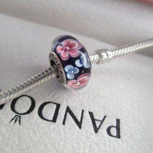 Pandora blue flower murano like new s925 ALE